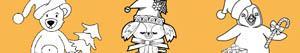 desenhos de Animais no Natal para colorir